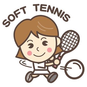 Soft tennis (TENNIS) forehand woman