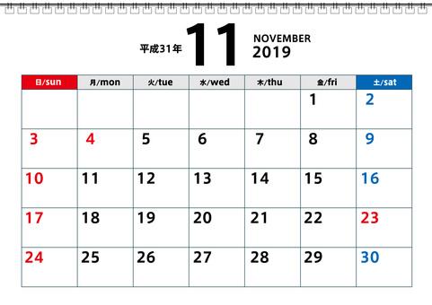2019 calendar for November 2019