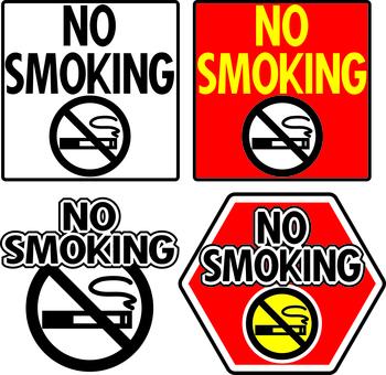 禁煙サインセット-ノースモーキングマーク