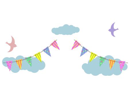 雲と鳥とガーランド