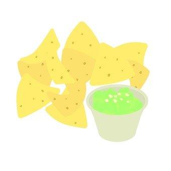 토틸라 칩 및 아보카도 소스