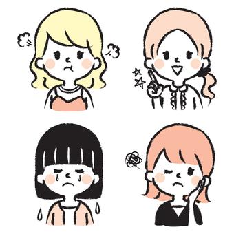 女の子 上半身 手書きイラストセット
