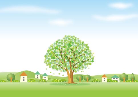 緑の木の町の風景その2