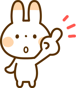 A finger-pointing rabbit