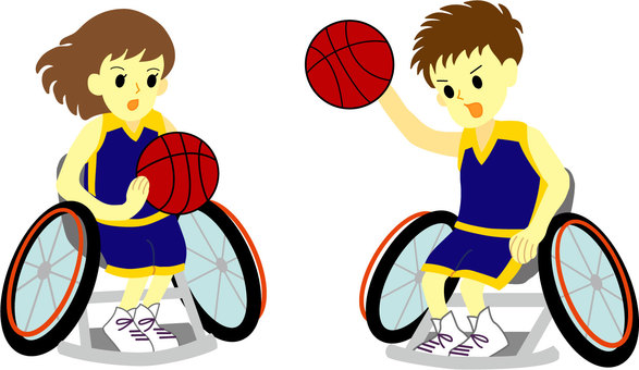 Men and women playing wheelchair basketball