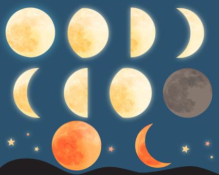 月亮升起和落下的插圖集
