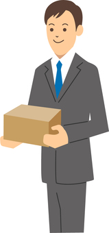 A businessman with a box