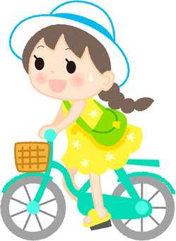 A girl who rows a bicycle