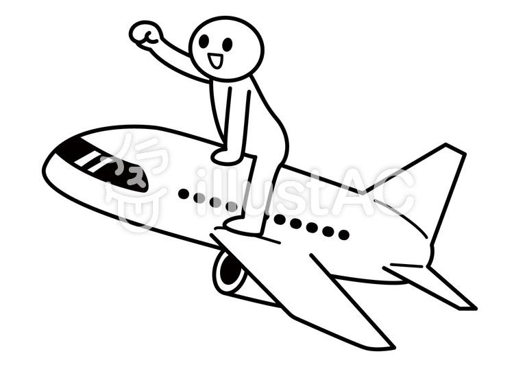 棒人間-飛行機で出発のイラスト