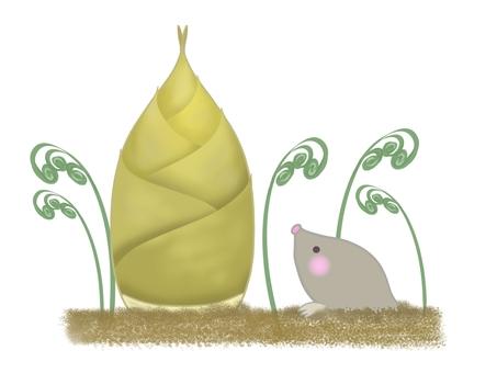 Illustration of bamboo shoots, warabi and moles