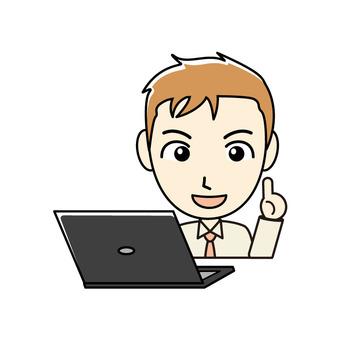 ブログ向け-PCと茶髪男性 笑顔で解説