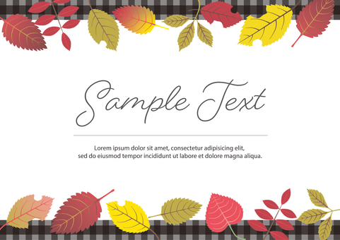 Plaid frame with fallen leaves