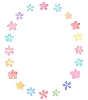 Water color flower circle Frame 2
