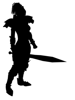 Silhouette of female swordsman holding a large sword