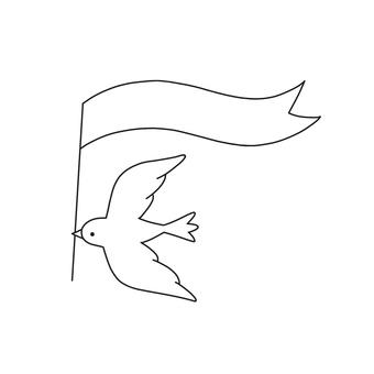 鳥とフラッグ