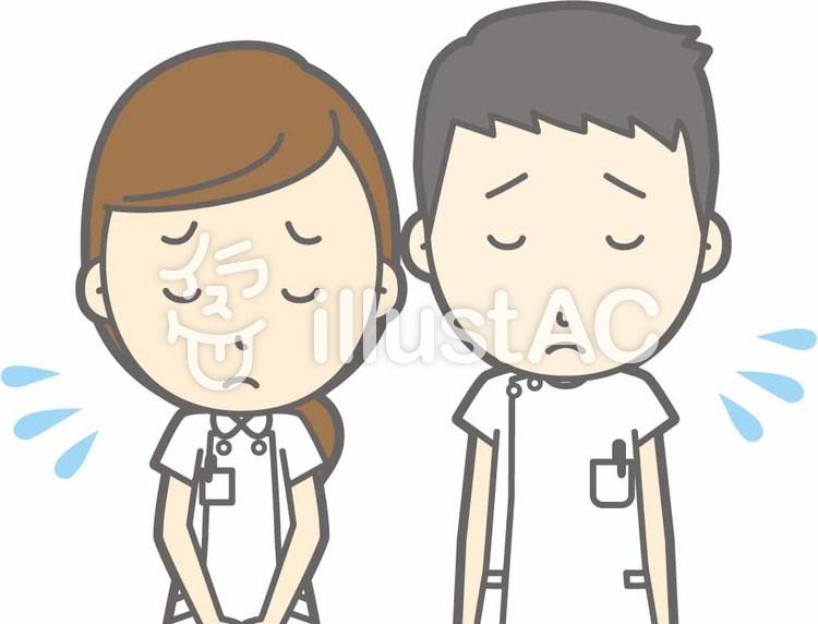看護師男女-おじぎ謝罪-バストのイラスト