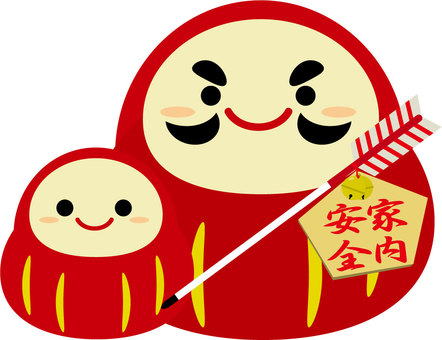 Daruma with an ema of house safety