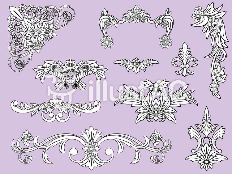 花のフレームセットのイラスト