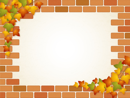 Brick wall and Ivy frame (autumn leaves)