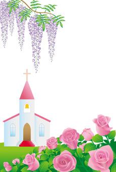 등나무와 장미 꽃과 교회