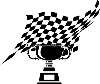 Checkered flag winning cup