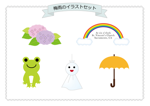 Rainy season illustration set