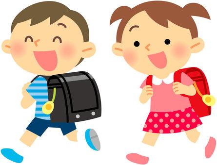 小學生背著書包