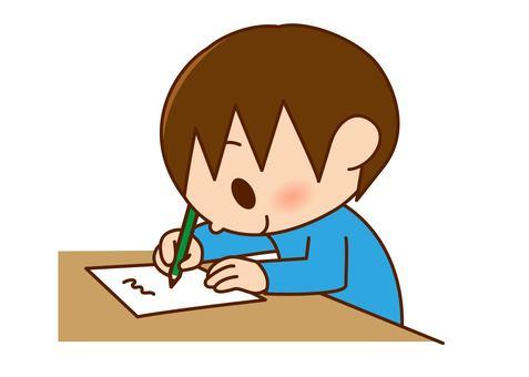 A boy with a pencil