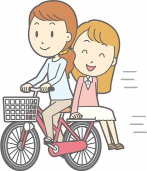 Bicycle lady - two bicycles - whole body
