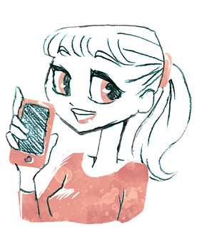 스마트 폰을 가지고 미소 포니 테일의 여성