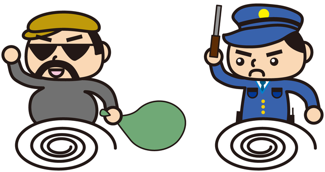 Thieves and policemen (cartoon style)