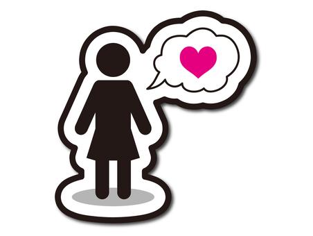 Woman speech bubble heart