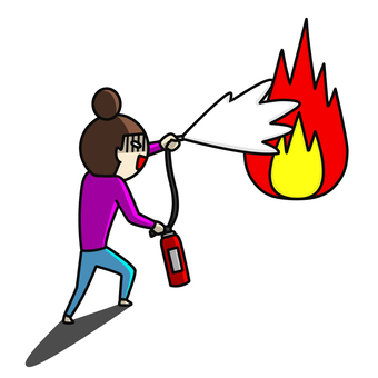 Flame fire extinguisher woman