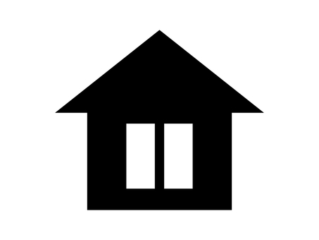 House silhouette icon vertical window