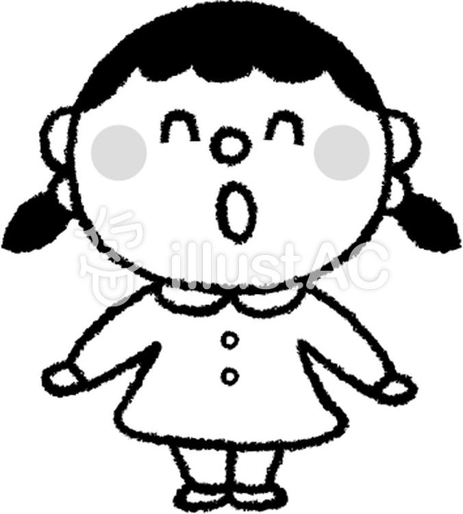 女の子 白黒イラスト No 384517無料イラストならイラストac
