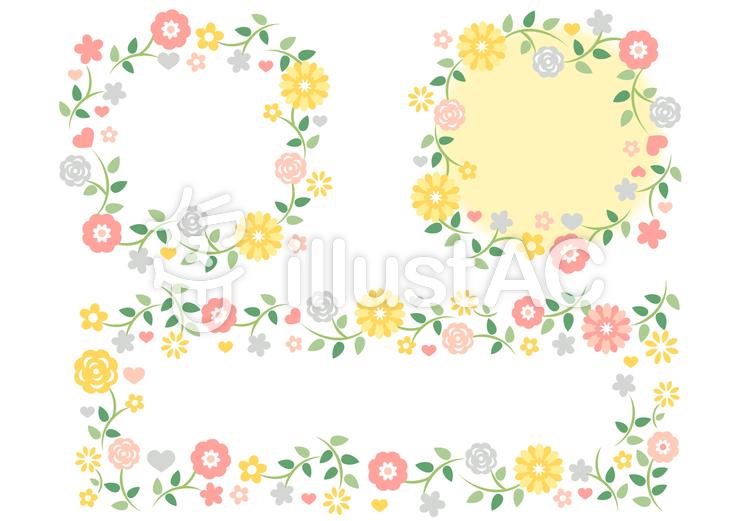 花 フレーム まとめのイラスト