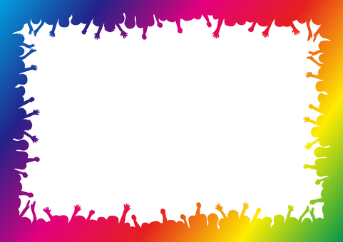 Audience silhouette frame rainbow color
