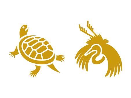 Crane and turtle icon