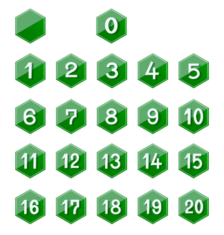 Number icon set-green