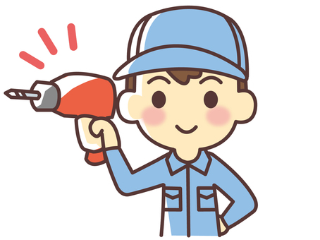 Worker with electric drill (065)