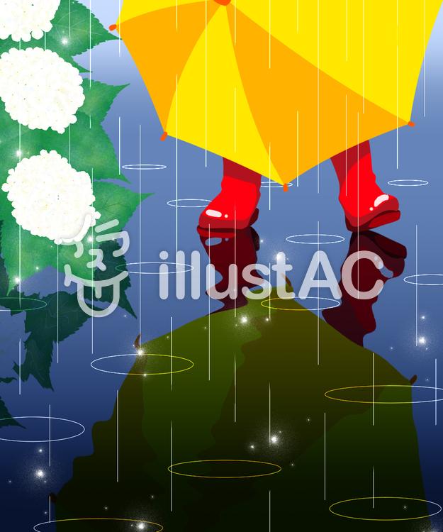 【フリーイラスト素材】雨のお散歩