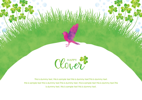 Spring background frame 044 clover watercolor