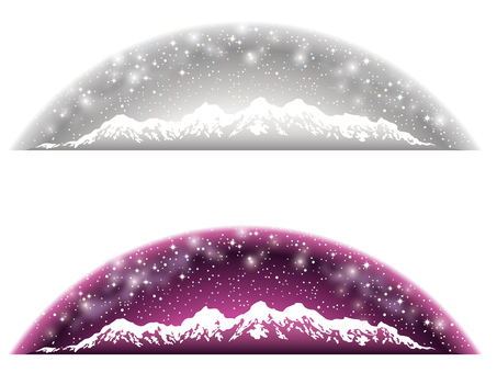 Starry Sky and Snowy Mount Background Gray & Purple