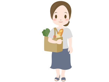 A woman with a shopping bag