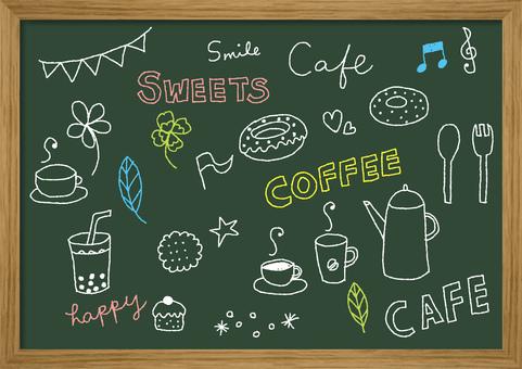 黑板黑板咖啡館例證