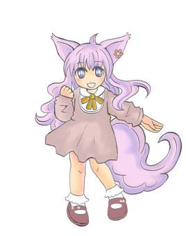 Silver fox ear girl