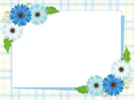 Light blue series Gerbera flower and leaf frame 02