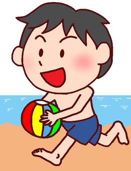 Illustration of a boy playing in the sea