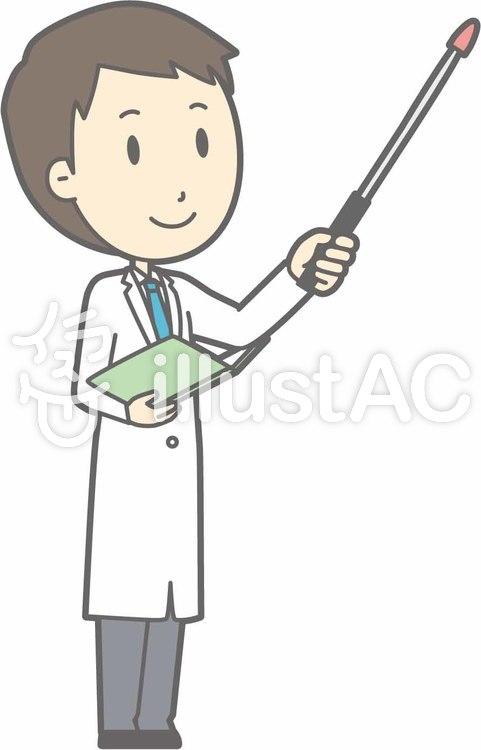 青年医師-指示棒5上視線右斜め-全身のイラスト