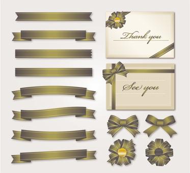 Gold ribbon card illustration set